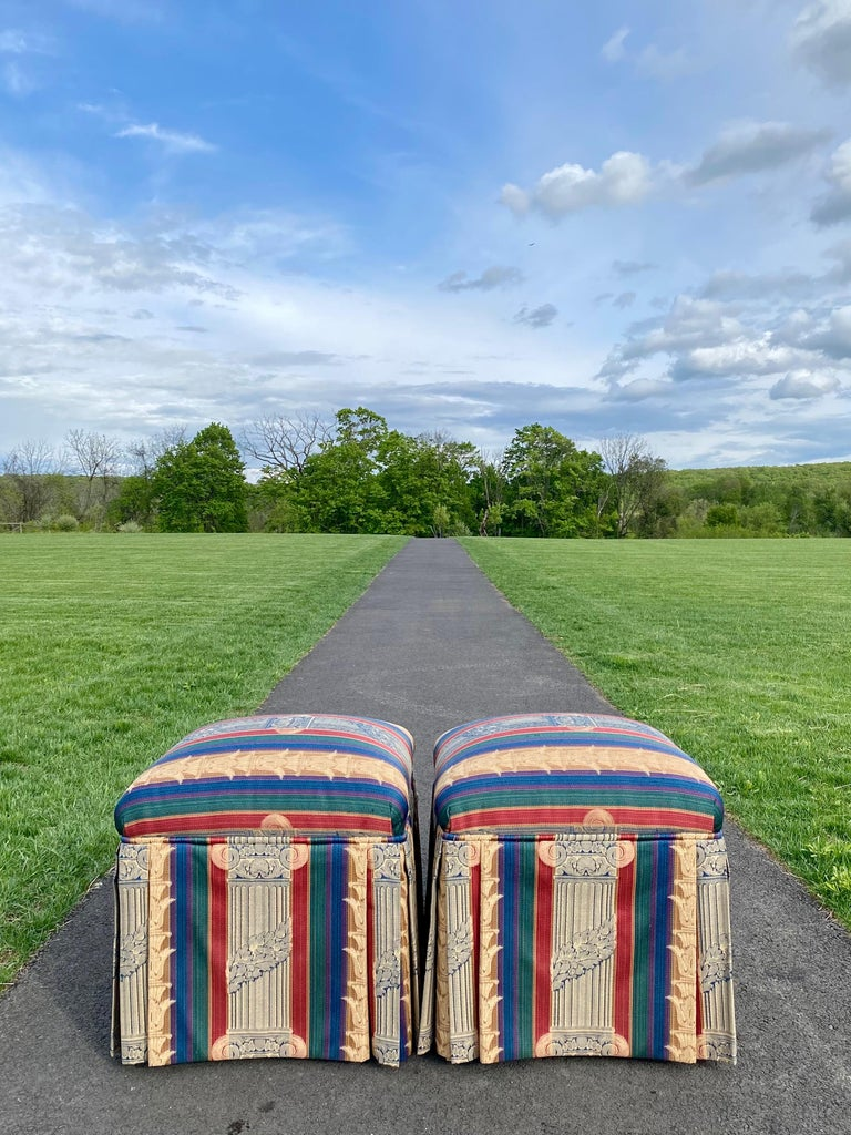 Hollywood Regency Pouf Ottoman Skirted Column Stools, Century Furniture In Good Condition For Sale In Lambertville, NJ