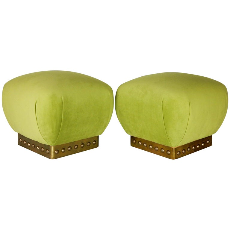 Hollywood Regency Pouf Ottomans in Green Velvet and Brass, circa 1970s For Sale