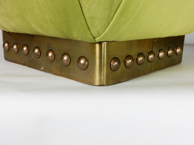 American Hollywood Regency Pouf Ottomans in Green Velvet and Brass, circa 1970s For Sale