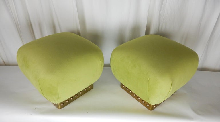 Hollywood Regency Pouf Ottomans in Green Velvet and Brass, circa 1970s In Good Condition For Sale In Las Vegas, NV
