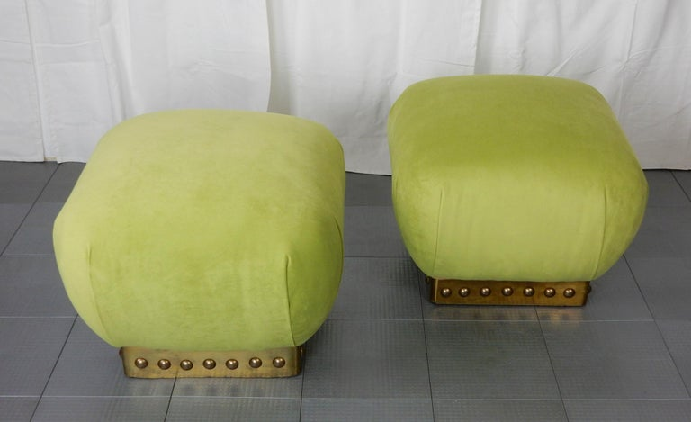 Late 20th Century Hollywood Regency Pouf Ottomans in Green Velvet and Brass, circa 1970s For Sale