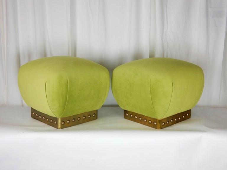 Upholstery Hollywood Regency Pouf Ottomans in Green Velvet and Brass, circa 1970s For Sale