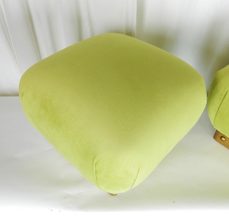 Hollywood Regency Pouf Ottomans in Green Velvet and Brass, circa 1970s For Sale 1