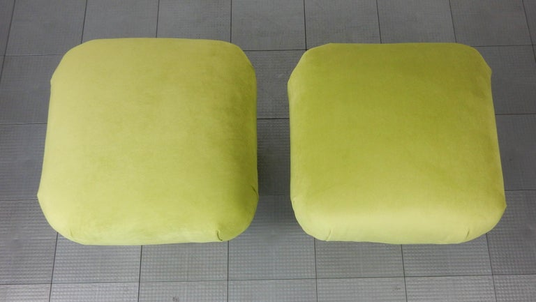 Hollywood Regency Pouf Ottomans in Green Velvet and Brass, circa 1970s For Sale 2