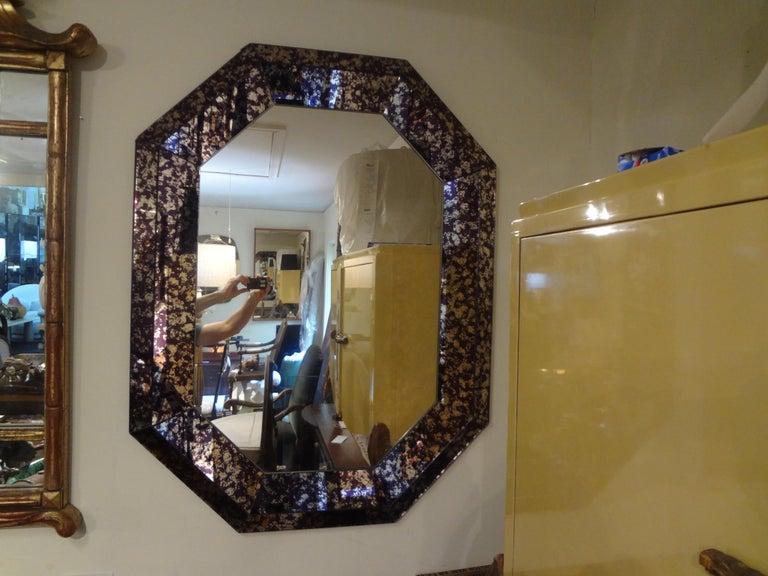 Late 20th Century Hollywood Regency Purple Octagonal Mirror For Sale