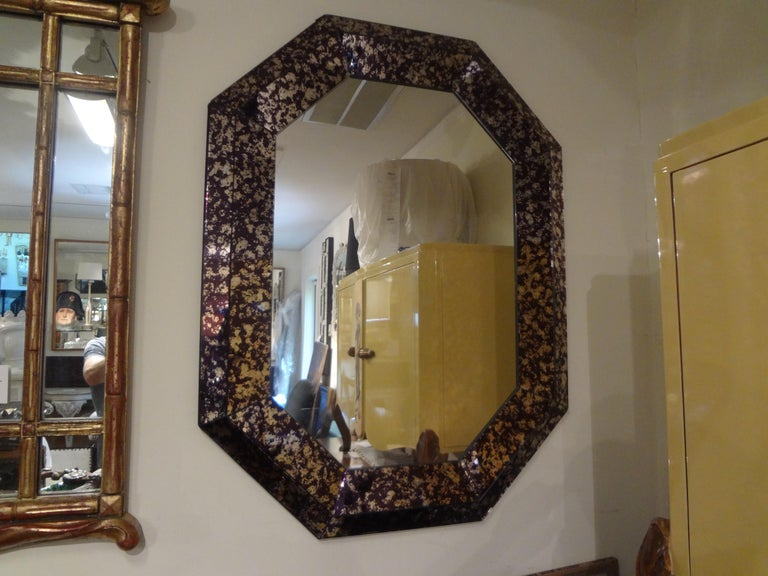 Hollywood Regency Purple Octagonal Mirror For Sale 1