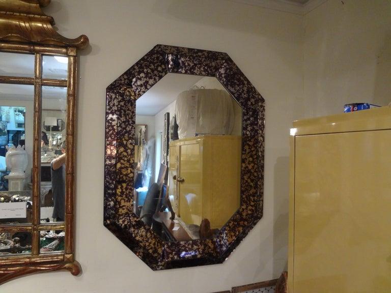 Hollywood Regency Purple Octagonal Mirror For Sale 2