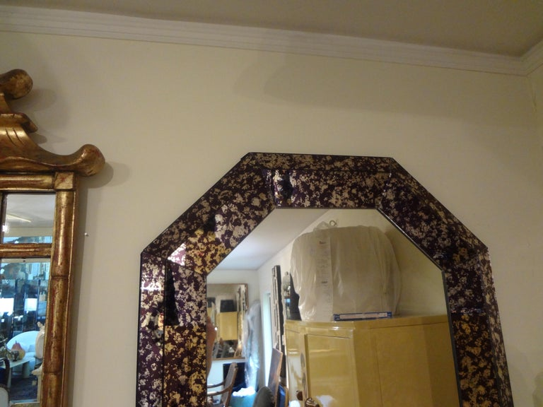 Hollywood Regency Purple Octagonal Mirror For Sale 3