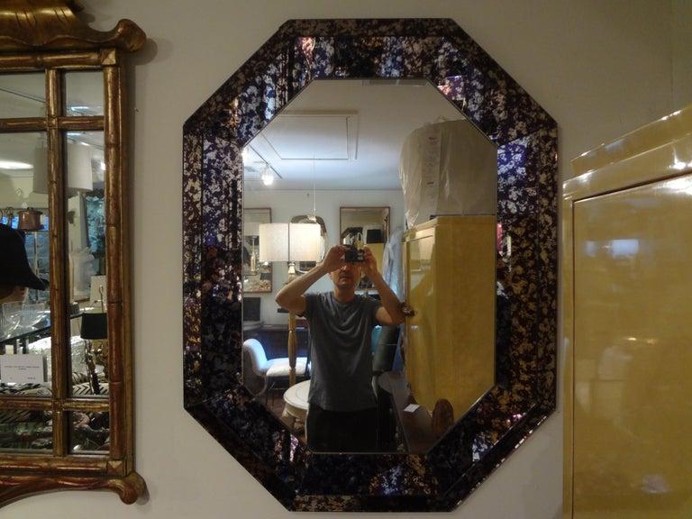 Hollywood Regency Purple Octagonal Mirror For Sale 4