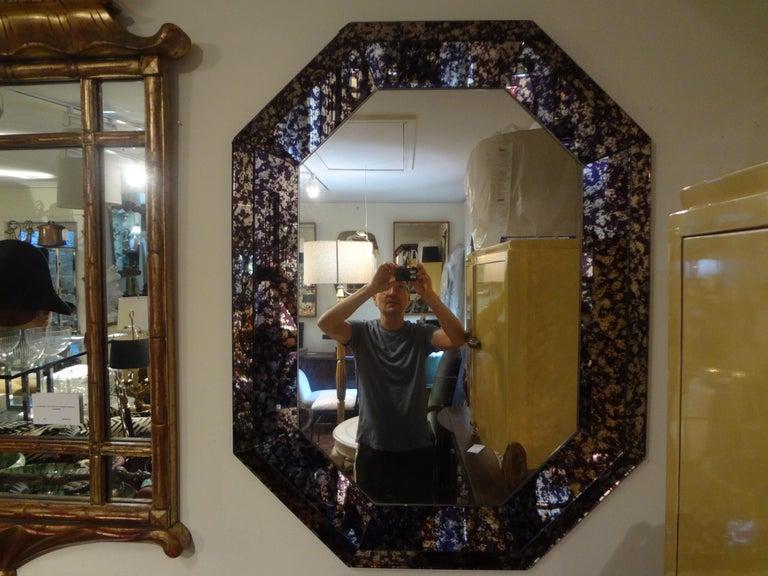 Hollywood Regency Purple Octagonal Mirror For Sale 5