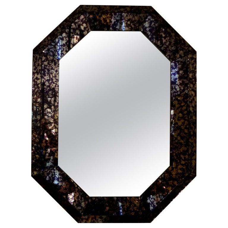 Hollywood Regency Purple Octagonal Mirror For Sale