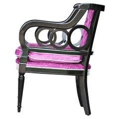 Hollywood Regency Purple Tufted Armchair