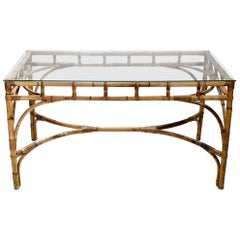 Hollywood Regency Rattan and Bamboo Table or Desk, 1970s
