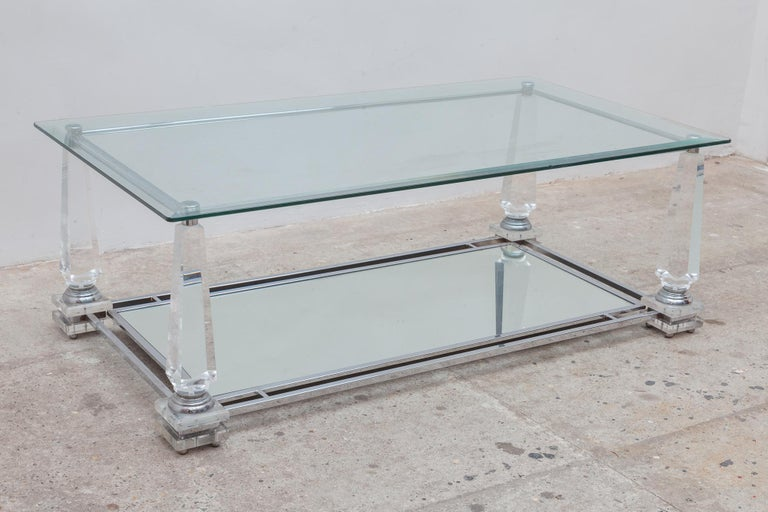 French Hollywood Regency Rectangular Lucite Obelisk Coffee Table For Sale