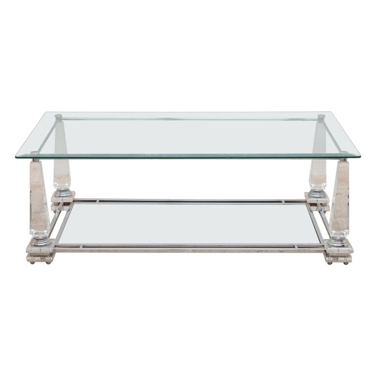 Hollywood Regency Rectangular Lucite Obelisk Coffee Table For Sale