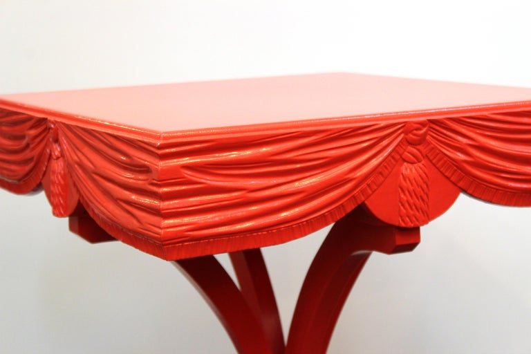 Hollywood Regency Red Side Tables with Sculpted Wood Drapery For Sale 7