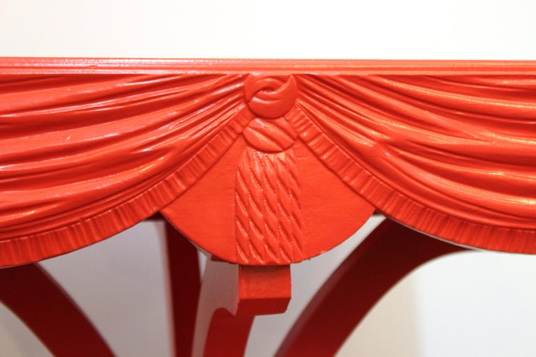 Hollywood Regency Red Side Tables with Sculpted Wood Drapery For Sale 2