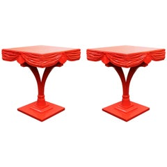 Hollywood Regency Red Side Tables with Sculpted Wood Drapery