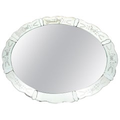 Hollywood Regency Reverse Etched Mirror w/ Floral Detailing & Mirrored Appliques
