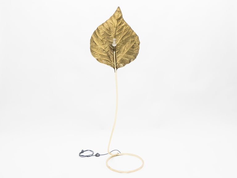 Hollywood Regency Rhubarb Brass Floor Lamp Tommaso Barbi 1970s For Sale 8