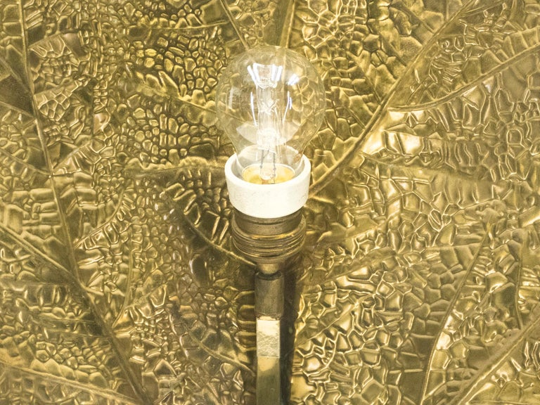 Hollywood Regency Rhubarb Brass Floor Lamp Tommaso Barbi 1970s For Sale 9