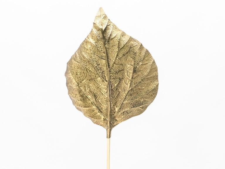Late 20th Century Hollywood Regency Rhubarb Brass Floor Lamp Tommaso Barbi 1970s For Sale