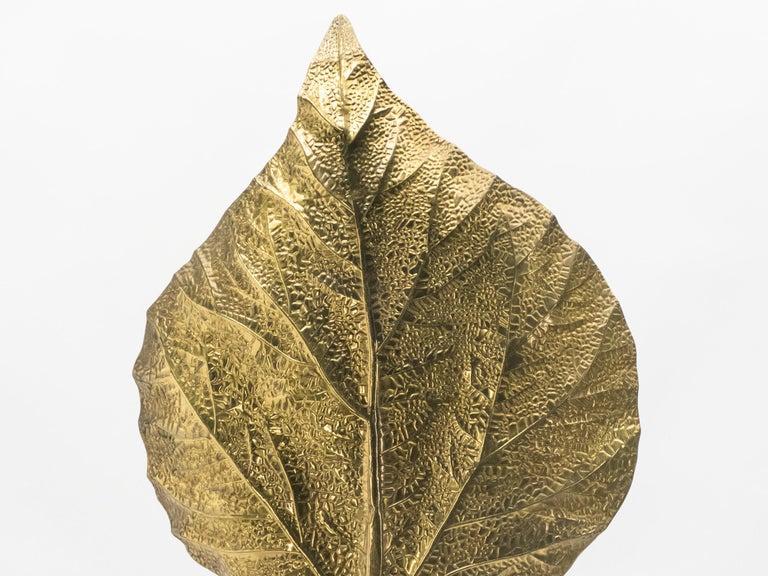 Hollywood Regency Rhubarb Brass Floor Lamp Tommaso Barbi 1970s For Sale 4