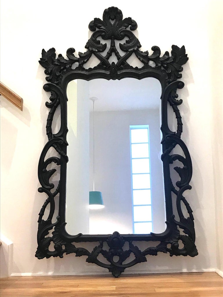 Hollywood Regency Rococo Mirror with Carved Wood Frame in Black, Italy C. 1970's For Sale 5
