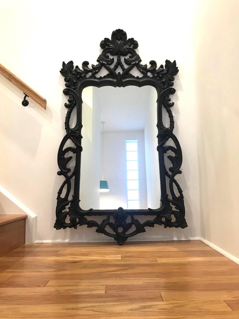 Hollywood Regency Rococo Mirror with Carved Wood Frame in Black, Italy C. 1970's For Sale 6