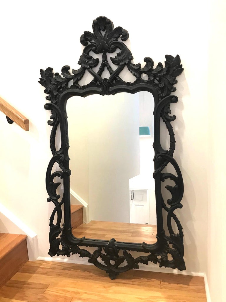 Rococo Revival Hollywood Regency Rococo Mirror with Carved Wood Frame in Black, Italy C. 1970's For Sale
