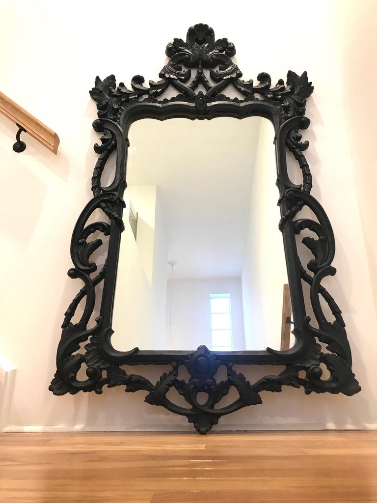 Hollywood Regency Rococo Mirror with Carved Wood Frame in Black, Italy C. 1970's For Sale 1
