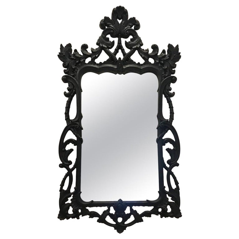 Hollywood Regency Rococo Mirror with Carved Wood Frame in Black, Italy C. 1970's For Sale