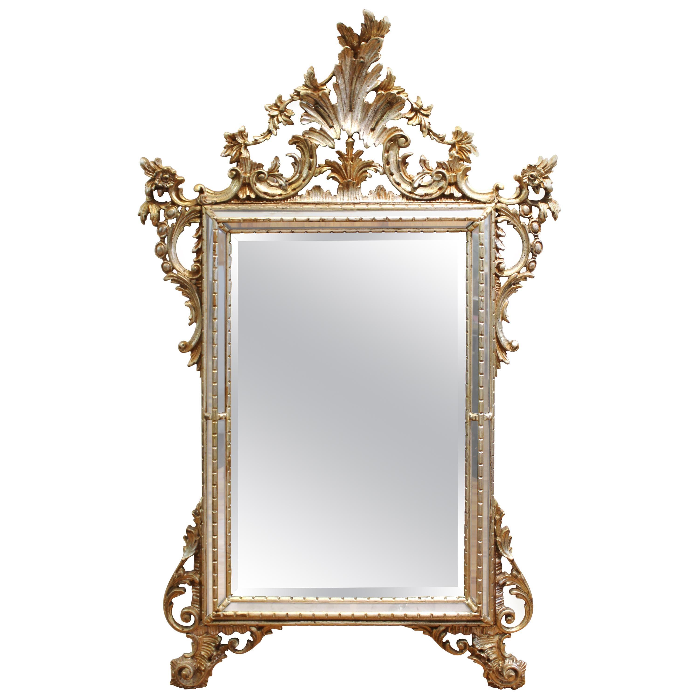 Hollywood Regency Rococo Style Silvered Wood Wall Mirror