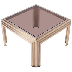 Hollywood regency Romeo Rega Brass and Chrome Coffee Table