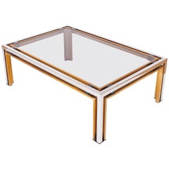 Hollywood Regency Romeo Rega Coffee Table in Brass and Chrome