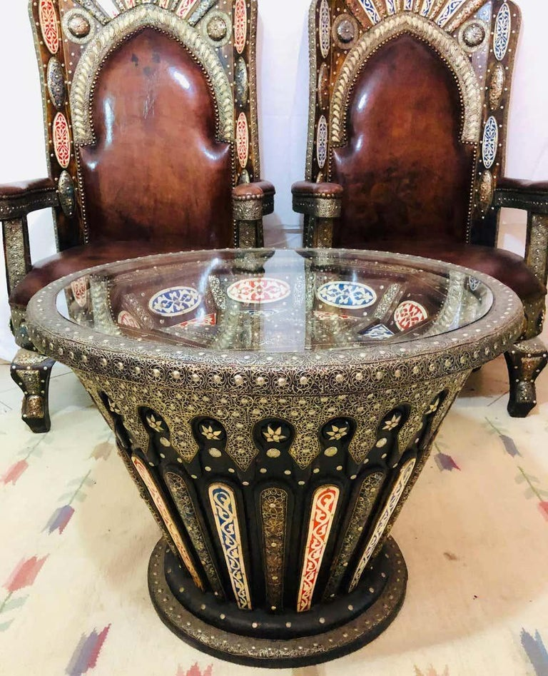 Hollywood Regency Royal style handmade fine leather pair of chairs and table Allow yourself to sit in the lap of luxury with our absolutely stunning chairs and table set The Royal Experience. This is indeed a regal chair fit for a king and Queen