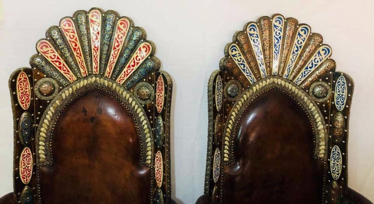 Brass Hollywood Regency Royal Style Handmade Fine Leather Pair of Chairs and Table For Sale