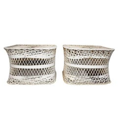 Hollywood Regency Russell Woodard Style Spun Fiber Side Patio Tables, a Pair