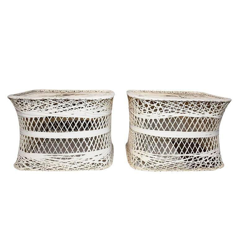 Hollywood Regency Russell Woodard Style Spun Fiber Side Patio Tables, a Pair For Sale