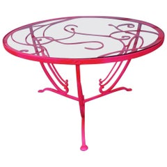 Hollywood Regency Salterini Neon Pink Wrought Iron Cocktail Coffee Table