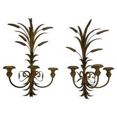 Hollywood Regency Salvadori Pair of Wheat Sheaf Gilded Sconces