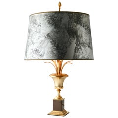 Hollywood Regency Sculptural Brass Palm Tree Table Lamp style of Maison Jansen