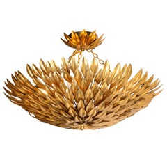 Hollywood Regency Sculptural Convex Gilded Feather Chandelier