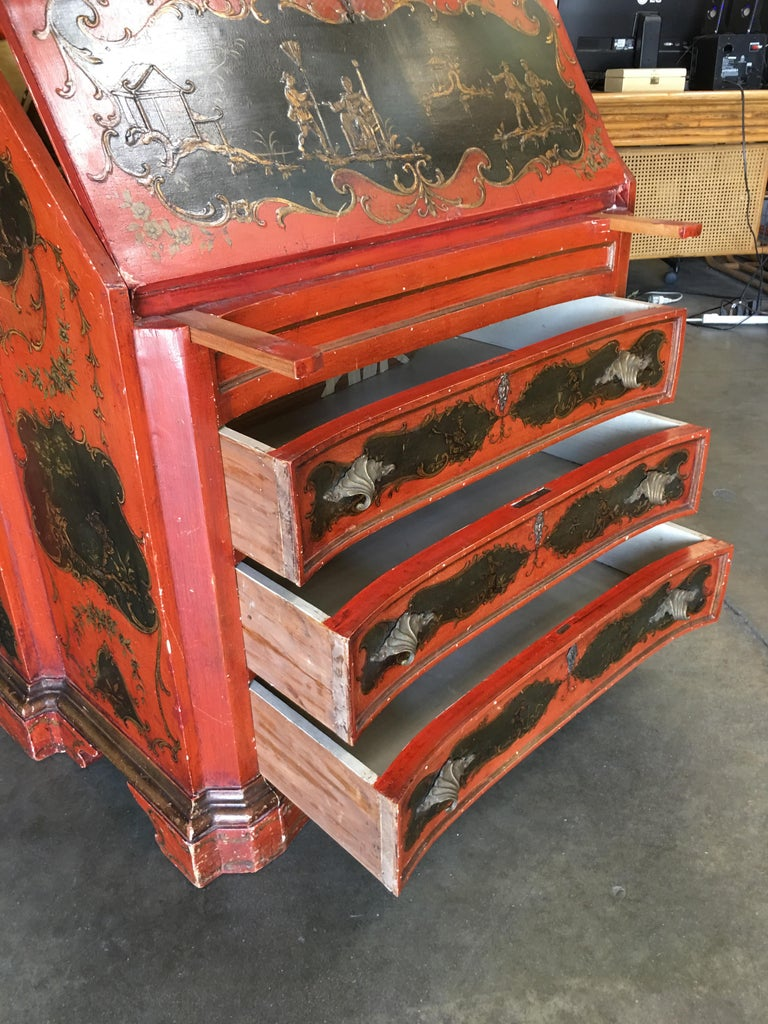 Hollywood Regency Secretary Desk Secretaire Bookcase with Chinese Motif For Sale 3