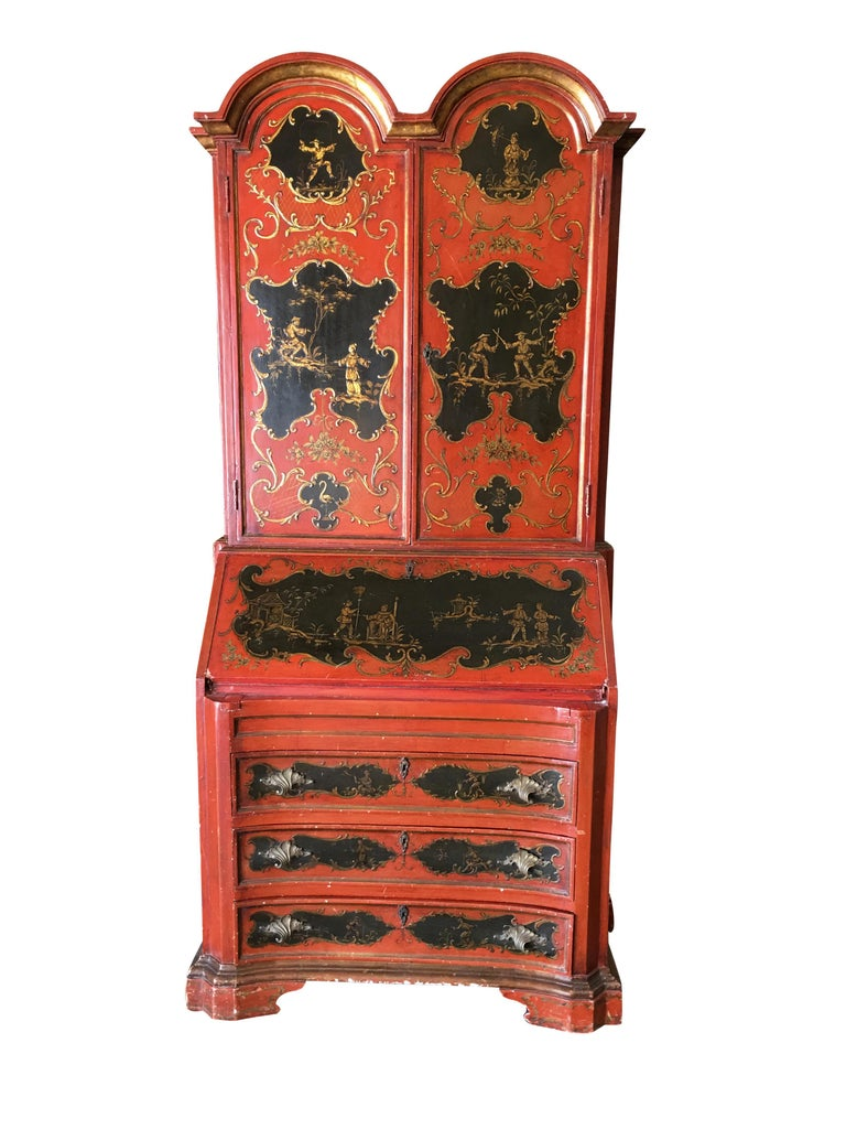 Hollywood Regency secretary desk secretaire bookcase with hand painted Chinese Motif featuring a breakfront cabinet with a small secretary desk in the middle and three drawers along the bottom, circa 1950.