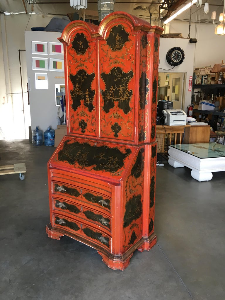 American Hollywood Regency Secretary Desk Secretaire Bookcase with Chinese Motif For Sale