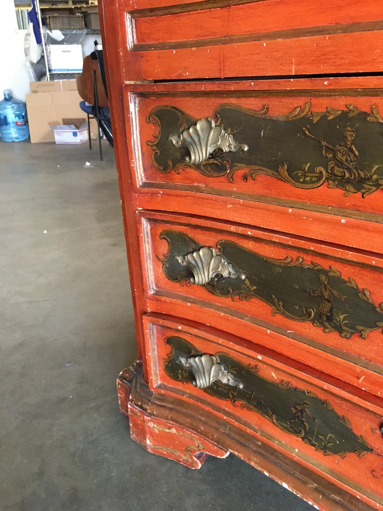 Mid-20th Century Hollywood Regency Secretary Desk Secretaire Bookcase with Chinese Motif For Sale