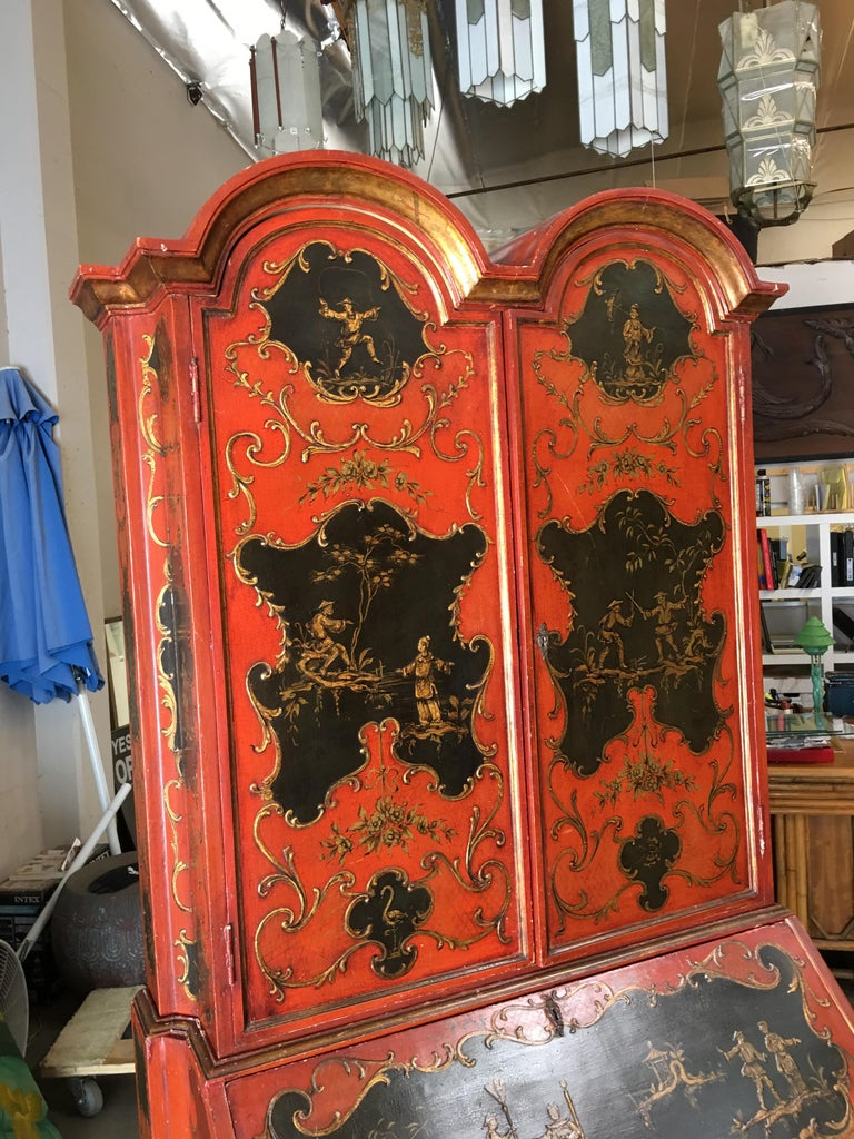 Hollywood Regency Secretary Desk Secretaire Bookcase with Chinese Motif For Sale 1