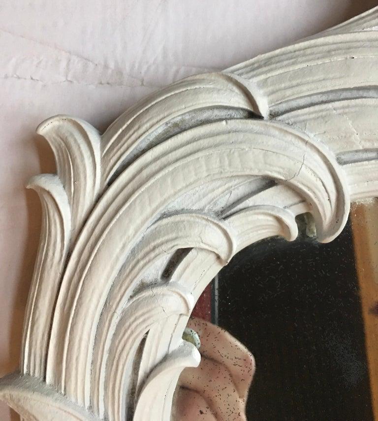 Mid-Century Modern Hollywood Regency Serge Roche Style Palm Foliate Mirror For Sale