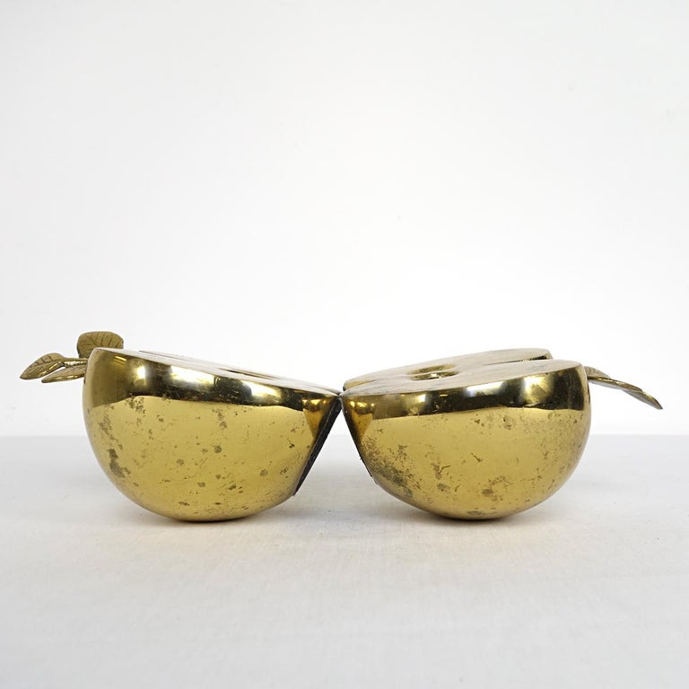 Dutch Hollywood Regency Set of Two Bookends in Brass Apple Halves Marked